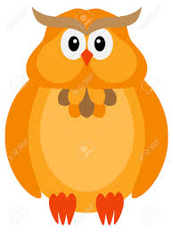happy halloween orange fall color tone cute cartoon owl isolated