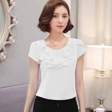 office shirts blouses elegant chiffon short sleeve cool summer for