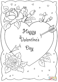happy valentine u0027s day card coloring page free printable coloring