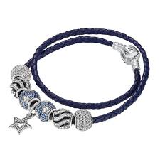 blue leather bracelet images Pandora double blue leather bracelet jpg