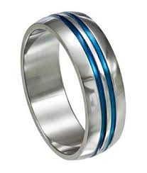 stainless steel mens rings stainless steel ring with blue grooves just men s rings