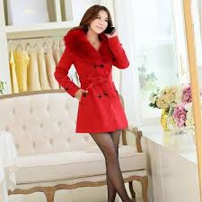 new fashion winter wollen coat big fur collar large size double