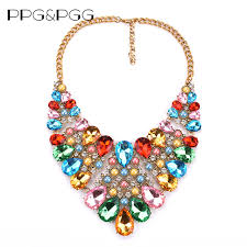 rhinestone statement necklace images Ppg pgg 2017 spring new colours crystal necklaces fashion women jpg