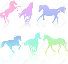 mustang horse silhouette set of rainbow colored horse silhouette collection royalty free