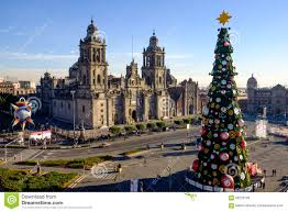 view of zocalo cathedral and christmas tree in mexico city