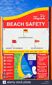 Flag Display Rules Beach Safety Warning Rules Sign Weymouth Seafront Dorset England
