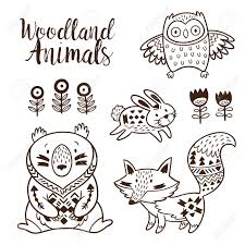 woodland animal coloring pages for kids hand drawn on a white