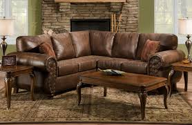 leather and microfiber sectional sofa brown smokey leather like microfiber classic sectional sofa