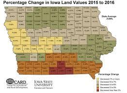 Map Of Iowa Counties Annual Iowa Farmland Values Report By Iowa State University
