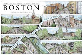 Boston Map by Boston The Marathon Map 12