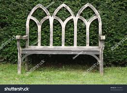 wooden gothic style bench english country stock photo 17973931