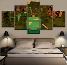 hd printed pictures 5 pieces minecraft game poster canvas modular