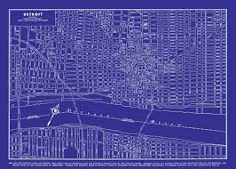 Vintage Chicago Map by 1949 Detroit Street Map Vintage Blueprint Print Poster