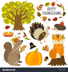 thanksgiving vector art set cute cartoon characters plants thanksgiving stock vector
