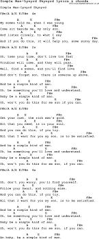simple man lyrics printable version love song lyrics for simple man lynyrd skynyrd with chords
