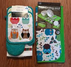 owl kitchen set with dish drying mat by mainstays 8 pieces