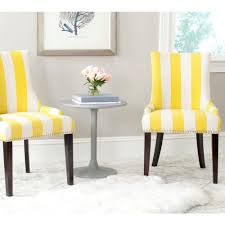 safavieh lester yellow and white linen blend dining chair set of