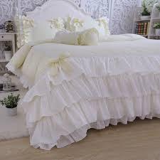 White Ruffle Duvet Pink Bedding Set