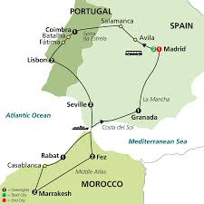 Spain Portugal Map by Morocco Combined Tours Morocco Portugal Spain 14 Nights 15 Days