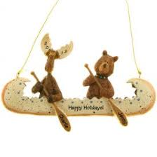 moose in rustic canoe ornament personalized ornaments for you
