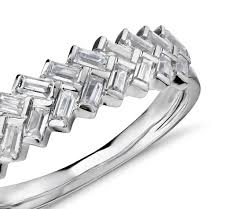 baguette ring 2 3 ct tw braided baguette diamond ring in platinum shop for