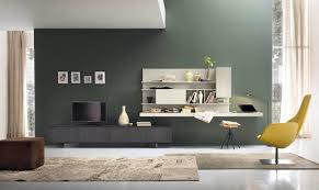 contemporary modern storage wall unit with dark grey wall paint