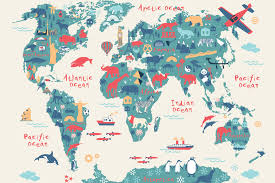 Canada Map Coloured by Explorer Kids World Map Mural Muralswallpaper Co Uk