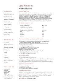 Waiter Job Resume by Restaurant Waiter Resume Sample Resume Waiter Resume Example Image