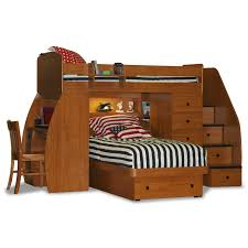 Bedroom  Low Dark Wooden Loft Bed With Pull Out Desk And Storage - Wood bunk beds with desk and dresser