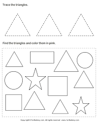 trace triangles and color them worksheet turtle diary