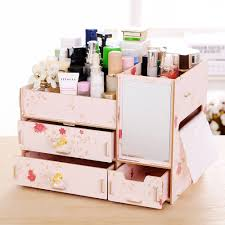 Desk Organizer Diy by New L Size Diy Wood Cosmetic Organizer With Mirror Tissue Box 31