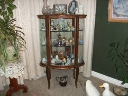 antique hutch with curved glass front back and both ends