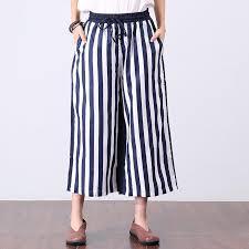 casual linen blue stripe women wide leg pants u2013 buykud