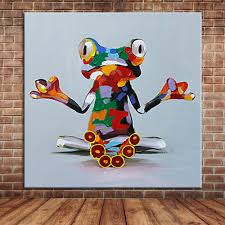 aliexpress com buy funny reading frog oil painting canvas art aliexpress com buy funny reading frog oil painting canvas art modern wall mural decoration for bedroom living room kid s room no frame from reliable