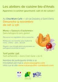 affiche atelier cuisine actu atelier cuisine bio d ïs le 9 novembre à denis 93