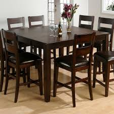 how tall is a dining table dining room appealing varnished tall kitchen table with leather