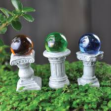 Gazing Balls Garden Amazon Com Fairy Garden Mini Gazing Globes Set Of 3 Gazing