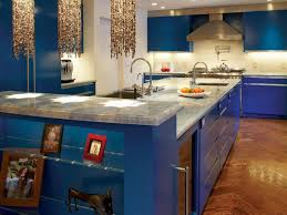 bright kitchen cabinet blue wall