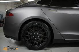 matte dark grey tesla model s vehicle customization shop vinyl