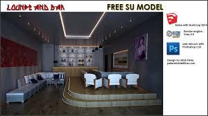 lounge and bar sketchup 3d cad model grabcad