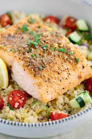 mediterranean spiced salmon and vegetable quinoa jessica gavin