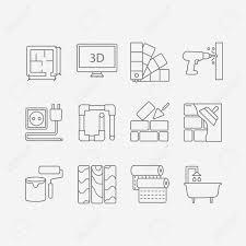 interior design website vector set of modern flat line icons for interior design website