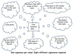 get a signature fun worksheets great activity for active class