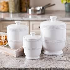 white kitchen canister set white bead canisters set of 3 canister sets kitchens