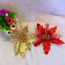 artificial poinsettia flower for christmas tree wreath house