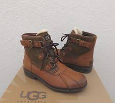 ugg womens duck boots ugg australia cecile chestnut womens leather waterproof ankle