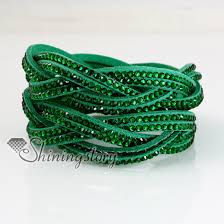rhinestone leather wrap bracelet images Double layer crystal rhinestone slake bracelets wristbands genuine jpg