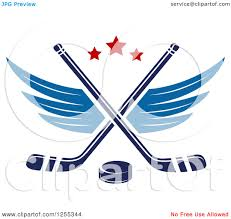 clipart of a puck and winged crossed hockey sticks royalty free