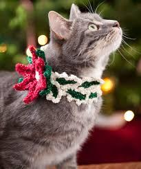holiday cat collar crochet pattern red heart