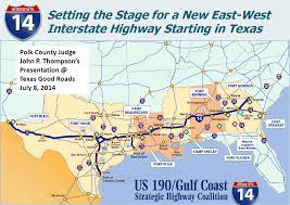 Louisiana Highway Map Interstate Guide Interstate 14